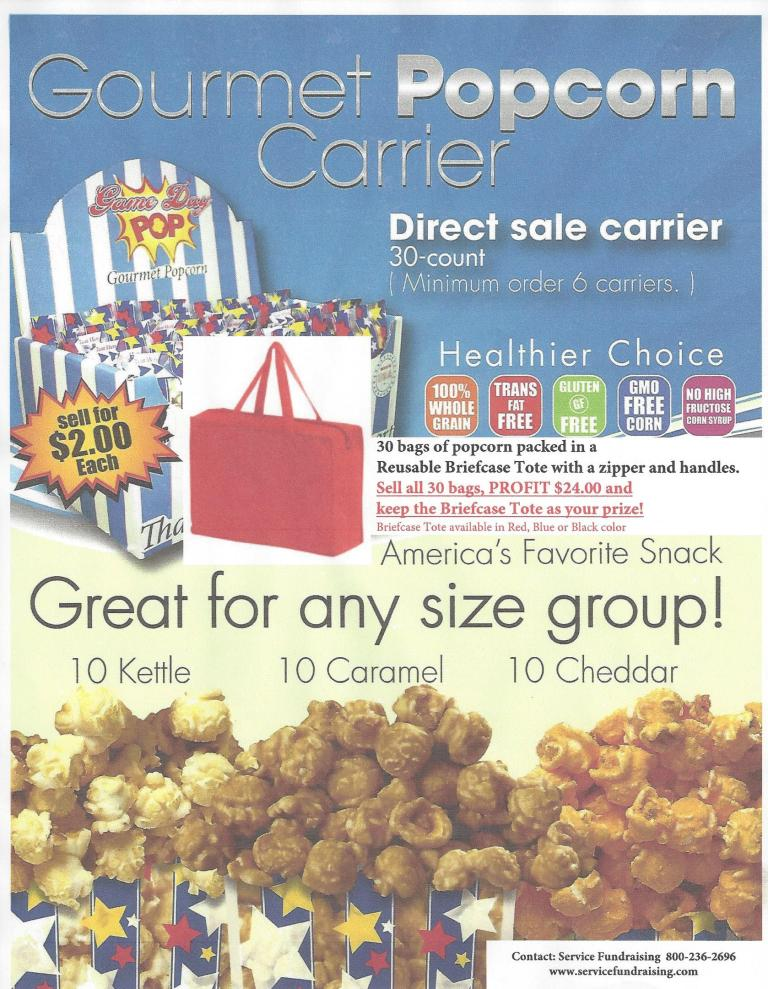 popcorn fundraiser carrier prize briefcase tote bag